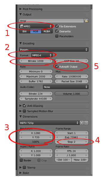 Blender settings affecting video size